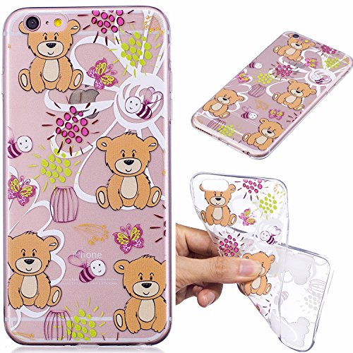 Custodia per iPhone 6S Plus 5.5,Silicone Cover per iPhone 6 Plus 5.5,Leeook Creativa Bello Carina Gatto Painted Design Ultra Sottile Morbida Transparent TPU Gel Cover Case Shock-Absorption Anti Sciv Bruno Orso Farfalla Ape