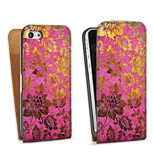 Apple iPhone 6 Plus Housse étui coque protection Rétro couleurs Fleurs Sac Downflip blanc