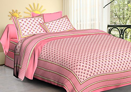 Fashion Dziner 90X108 Inches 1 Polka Printed Bedsheet with 2 Pillow Covers, 275X230 cm, Pink