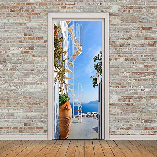 Etiqueta De La Puerta,3D Adhesivos Para Puertas Interiores Unión Escalera De Caracol Autoadhesiva Murales Para Puertas Puertas Renovación De Arte De Pared Pegatinas Para Salón Dormitorio-L