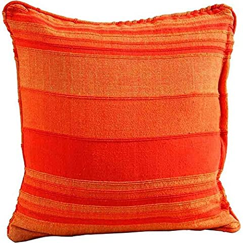 Homescapes Morocco Striped Filled Cushion 24 x 24 Inches Orange Terracotta Rust 100% Cotton Cover and Well Filled Pad 60 x 60 cm Coordinating with Rajput Throws and Curtains Easy care Washable at