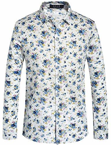 SSLR Herren Blumen Button Down Casual Langarm Hemd (Small, Weiß) (Weiße Langarm-hawaii-shirt)
