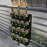 TrustBasket Vertical Gardening Pots with Metal Panel (16 Pots) -(Black)