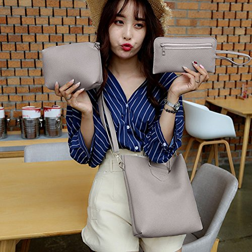 Baggra Damen Handtaschen Schultertasche Set PU-Leder Composite Bag Set Grau