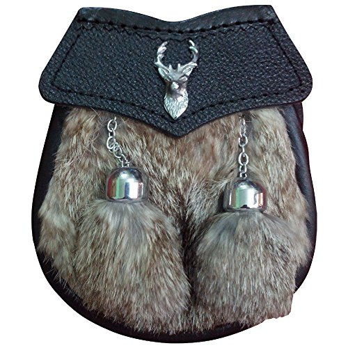 House of Highland 77 - Riñonera de piel Unisex adulto Gris Grey Fur Talla única