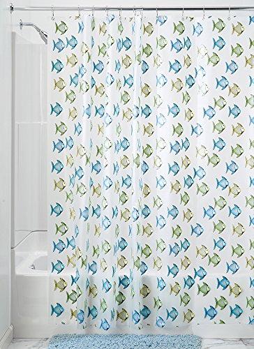 InterDesign Fishy Schimmel-/Spakresistenter Wasserdichter Duschvorhang aus PEVA, 180 x 200 cm, blau/grün (Fisch Handtuch Haken)