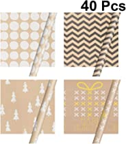 SUPVOX Christmas Gift Wrapping Paper Roll Gold Print Paper Roll Gift Packaging Wrap for Birthday Holiday Wedding Baby Shower 40 Sheets