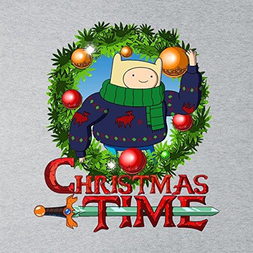 Adventure Christmas Time Wreath Finn Cartoon Network Men's Vest Heather Grey