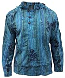 SHOPOHOLIC FASHION Herren Stonewashed gestreift mit Kapuze Hippy Großvater Shirt - Türkis, Small