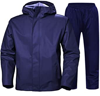 TEDSPRAY Reversible Rainsuit for Men and Women with ADJUSTIBLE Hood and 2 Inner Pockets (Medium,Large and X-Large)