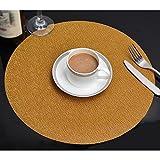 Xuan - worth having Western Matten PVC Material Weben Tischmatten Gold runde Matte Küche Wohnzimmer Geschirr 1 Stück (35 cm im Durchmesser) Tischsets