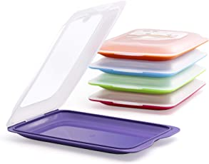 K&G Hochwertige Aufschnitt-Boxen 4er Set platzsparend stapelbar (Stapelboxen) / Vorratsdosen-Set für Aufschnitt mit integrierter Servierplatte. Foodcenter Frischhaltedosen für den Kühlschrank