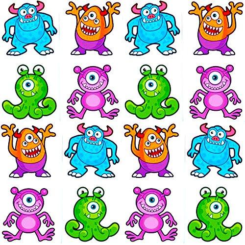 German Trendseller® - 16 x Monster Tattoos für Kinder ┃ Sortiert ┃ Sei Cool ! ┃ Diese Monster Kannst du jeden Zeigen! ✔
