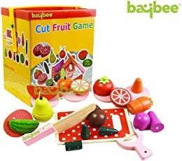 Baybee Wooden Magnetic Cut Fruit & Vegitable Blocks Pretend Kitchen Play D