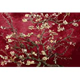 FLORAL CANVAS ART MAROON VAN GOGH BLOSSOMING ALMOND TREE 30 X 20 INCHES READY TO HANG