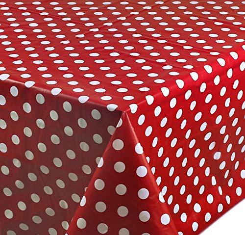 Wachstuch Tischdecke Abwaschbar Eckig 140 x 180 cm Punkte Rot -