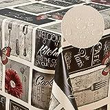 laro Wachstuch-Tischdecke abwaschbar meterware Wachs-Tischtuch Wachs-Decke PVC Blumen, Muster:Bistro grau-rot, Größe:40x40 cm Muster
