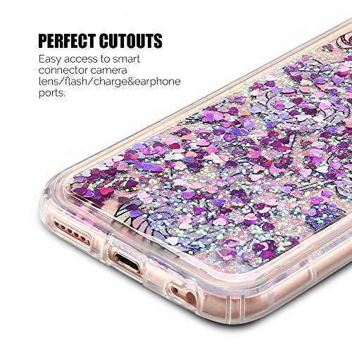 Cover iPhone 6 plus Custodia iPhone 6s plus Liquido Anfire Trasparente Rigida Duro Plastica Gel Case per Apple iPhone 6 plus/6s plus (5.5 Pollici) Morbida Silicone Sabbie Mobili Shell 3D Bling Glitter Viola
