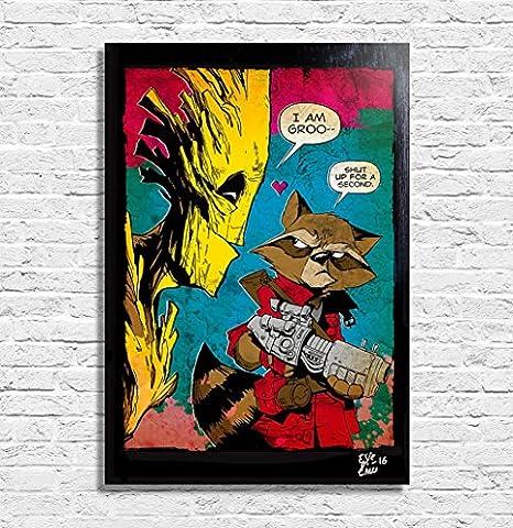 Rocket Raccoon et Groot, Les Gardiens de la Galaxie Marvel - Illustration originale encadrée, peinture, presse artistique, poster, toile imprimée, art contemporain, image sur toile, affiche d'art, bandes dessinées, film