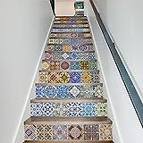L-com LLL Selbstklebend 3D Keramische Fliesen Muster Treppenhaus Aufkleber Vinyl Abnehmbar Wasserdicht Treppe Dekoration Wand-Abziehbild-Papier 100 * 18cm * 13PCS/Set (1 Satz), Mehrfarbig