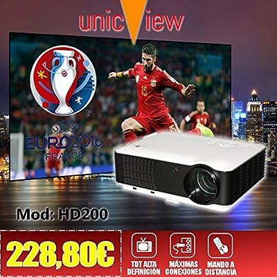 proyector de alta definicion Unicview HD200 con TDT, USB, HDMI, VGA, AC3, resolucion nativa HD, 2 años de garantía