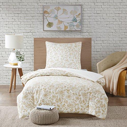 URBAN HABITAT Halsey 2tlg. Floral Bettwäsche Set in Stickerei-Look Bettgarnitur Blütenmuster Modern Einzelbett Taupe, 135x200cm+80x80cm