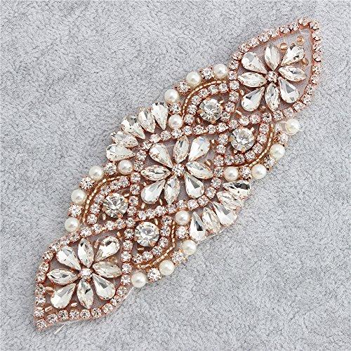 Bridal Rhinestone Apliques Hechos a Mano con Cristales Perlas con Cuentas Vestido de Novia Vestido Elegante Brillo Deslumbrante para Fajas - Rosa Oro