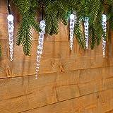 Catena 8 m, 40 Ghiaccioli led bianco freddo, cavo verde, luci di Natale, luci per albero, decorazioni luminose
