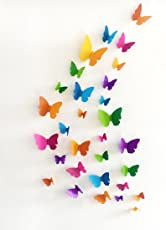 Jaamso Royals 'Multicolor 3D Butterflies' Wall Sticker 1 Combo of 19 Piece (PVC Vinyl, 21 cm x 29.7 cm, 3D Stickers) H1-007