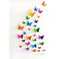 JAAMSO ROYALS Multi Colour 3D Colorful Crystal Butterfly Wall Stickers with Adhesive Art Decal Satin Paper Butterflies…