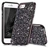 Coque iPhone 8 Noir,Coque iPhone 7,Slynmax Silicone Paillette Strass Brillante Bling...