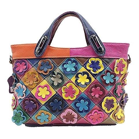 WANGWO High Quality Womens Genuine Cowhide Leather Handbag Color Matching Shopping Bag