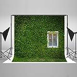 KateHome PHOTOSTUDIOS 2,2x1,5m Frühling Fotografie Hintergrund Mikrofaser Grüne Wand Foto Kulissen Weiße Fenster Fotografie Hintergründe für Studios