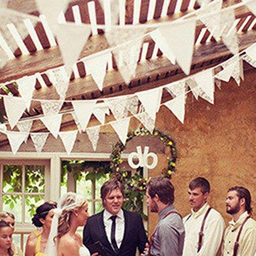 Demiawaking Schöne Spitze Wimpeln Girlande, Spitze Fahnen ,Wimpelkette für Hochzeit Dekoration Draußen Geburtstagsfeiern Party Dekoration (17) (Hochzeit Dekorationen Schöne)