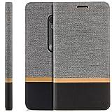 Zanasta Designs Tasche Lenovo Moto G3 Hülle Flip Case Schutzhülle Handytasche mit Kartenfach Grau