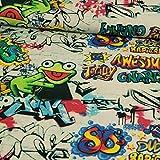 Stoffe Werning Dekostoff Digitaldruck Graffiti Frosch bunt - Preis Gilt für 0,5 Meter