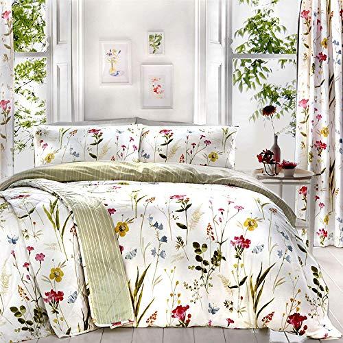 Blumenmuster Meadow Blumen Weiß Baumwollmischung Super King Size Duvet Cover & Tagesdecke 229X195CM -