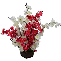 Sofix Artificial Orchid Flowers Peach Blossom Flower Pot for Home Decor Hotel Decor Office Decor on Amazon - 40cm (Red White)
