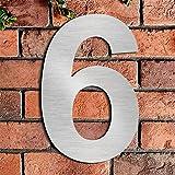 Gebürstetes Haus Nummer 6 Sechs-20.5cm 8.1in-gemacht vom festen Edelstahl 304, sich hin- und herbewegendes Aussehen, einfach anzubringen