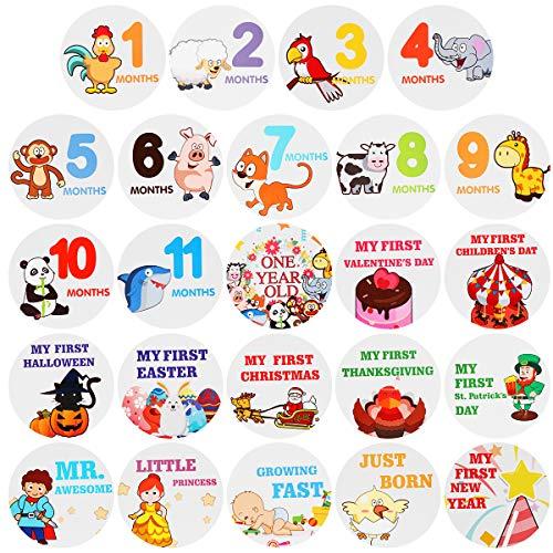 Toyvian Baby Monthly Stickers Neugeborenen Meilenstein Selbstklebende Aufkleber 24 Stück