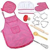 Vamei Chef Baby traje Delantal de cocina Set con niños Accesorios de Cocina Chef 12pcs Set para niños y niñas