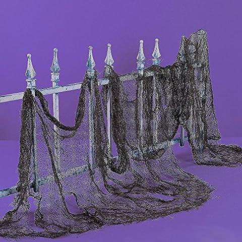 German Trendseller® - 1 x toile en lambeaux XXL┃ halloween┃ décoration horreur┃200 x 75 cm┃très noire┃ décorrez la toile avec araignées, corbeaux et chauve-souris