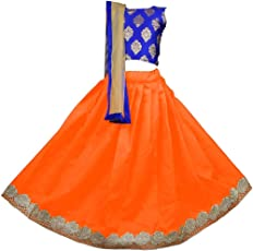 NAJARA FASHION Girl's Jacquard and Banglory Silk Lehenga Choli