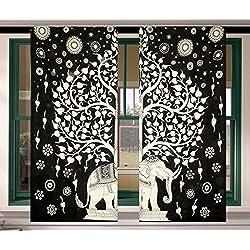 Elefantenbaum Tapisserie Fenstervorhang Bohemian Mandala Fenster Treatment Gardinen Mandela Tür Fenster Vorhänge Boho Hippie Gypsy Raumteiler Mandela Schiebevorhang