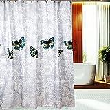 S-ZONE Schmetterling Drucken Duschvorhang Verdicken Anti-Schimmel Polyester Wasserabweisend 180x180 white/527-Butterfly