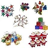 fizzytech Artificial Mini Christmas Tree Decorations Set (Multicolour, 70 Pieces)