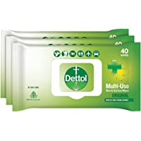 Dettol Disinfectant Skin & Surface Sanitizing Wipes, Original – 40 Count| Safe on Skin| Ideal to Clean Multiple Surfaces…