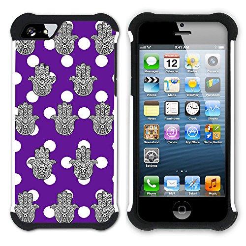 Graphic4You Monogramm Hamsa Hand der Fatima Punktmuster Tupfen Muster (Wasserblau) Hart + Weiche Kratzfeste Hülle Case Schale Tasche Schutzhülle für Apple iPhone SE / 5 / 5S Lila