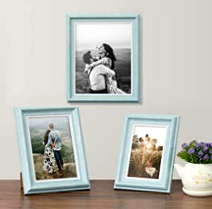 Art Street Turquoise Blue Set of 3 Photo Frames for Table Top Display and Wall mounting Picture Frame Home DecorSize4X6, 5X7, 6X8 Inchs