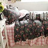 Nuevo conjunto de ropa de cama occidental culotte rosa colcha plaid clásica hoja de cama colcha cama princesa cama falda sin consolador
